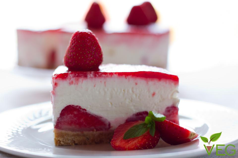 Cheesecake alle fragole senza soia