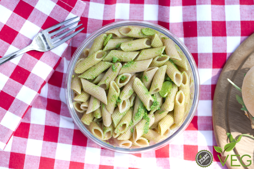 Pasta fredda al pesto fave asparagi