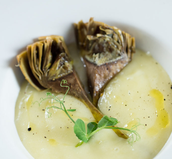 Fonduta di patate e carciofi dello chef Martino Beria